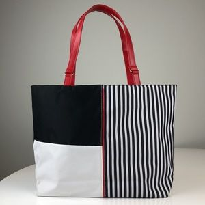 Lancome Tote - Black & White with Red Lining
